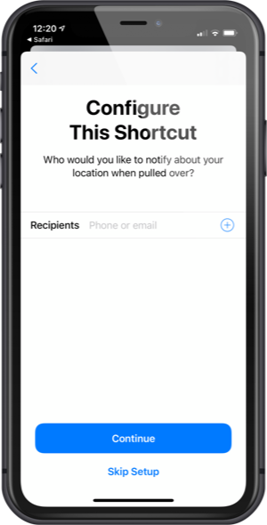 Tell the shortcut who you'd like to receive a message