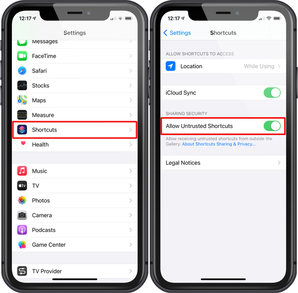 Enable Unstrusted Shortcuts