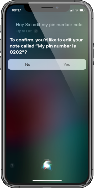 Siri with Notes - Edit Note